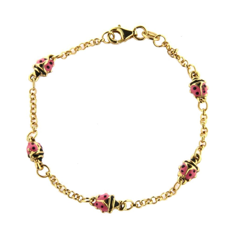 18Kt  Yellow God Pink Lady Bug Bracelet 6 inchesAmalia J. & Boutique Bracelets