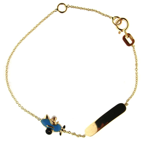 18k Solid Yellow Gold Blue Enamel Airplane Id Bracelet 5.6 inches with extra ring at 4.75 inchAmalia J. & Boutique Bracelets