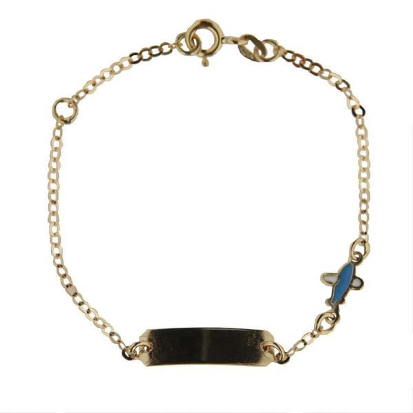 18K Yellow Gold enamel airplane ID bracelet 5.25 inch with extra rin  at 4.5 inchAmalia J. & Boutique Bracelets