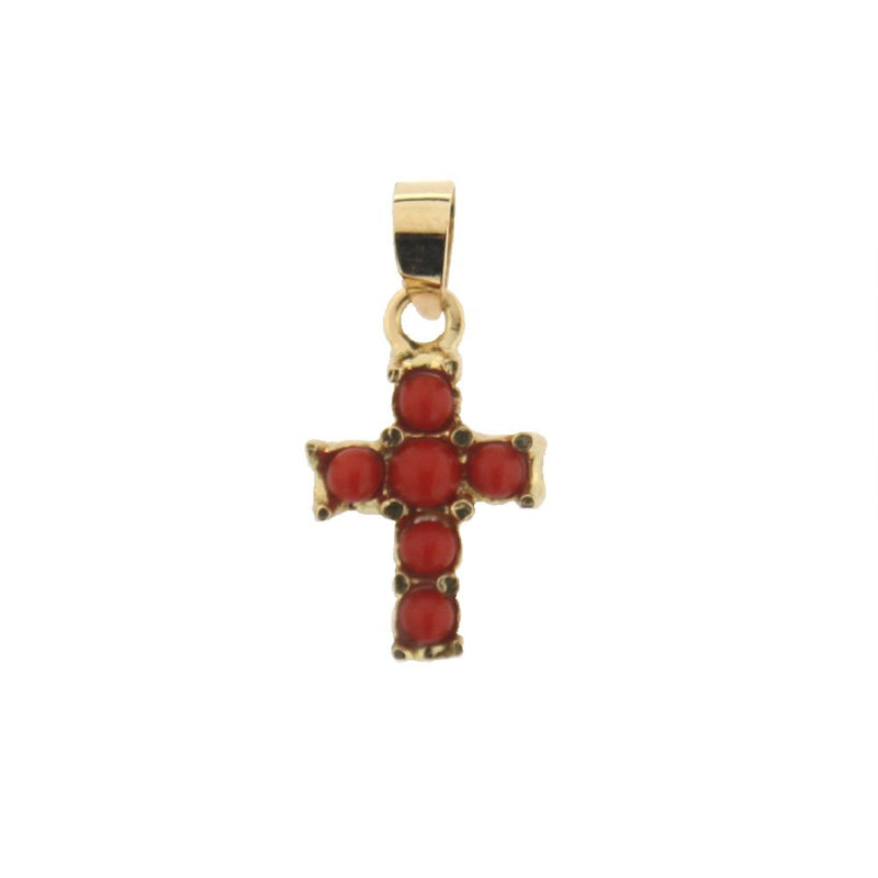 18Kt Yellow Gold Coral Cross Charm (11mm X 8mm / 18mm with Bail)Amalia J. & Boutique Charms