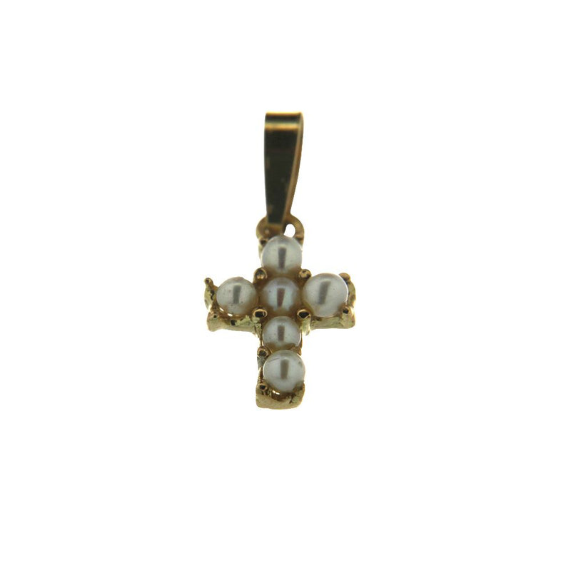 18Kt Yellow Gold Pearl Cross Charm (11mm X 8mm / 18mm with Bail)Amalia J. & Boutique Charms