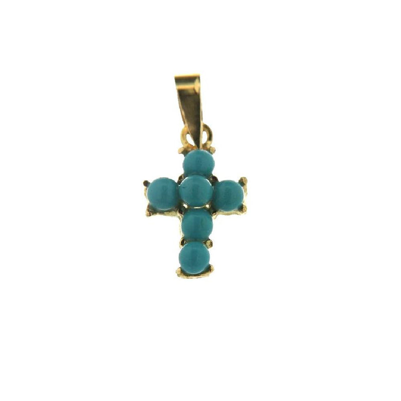18Kt Yellow Gold Turqoiuse Cross Charm (11mm X 8mm / 18mm with Bail)Amalia J. & Boutique Charms
