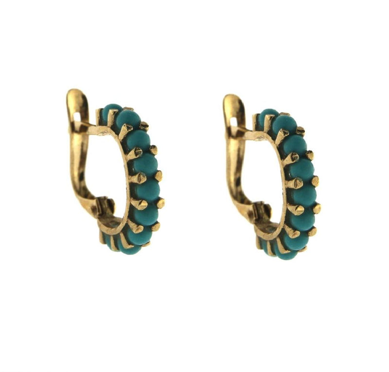 18K Yellow Gold Small Turqoiuse Paste Beads Half Hoops Earrings 12mm 0.47inch DiameterAmalia J. & Boutique Earrings