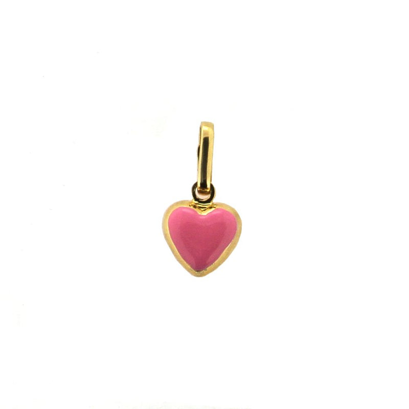 18Kt Yellow Gold Pink Heart Charm Solid (8mm/14mm with Bail)Amalia J. & Boutique Charms