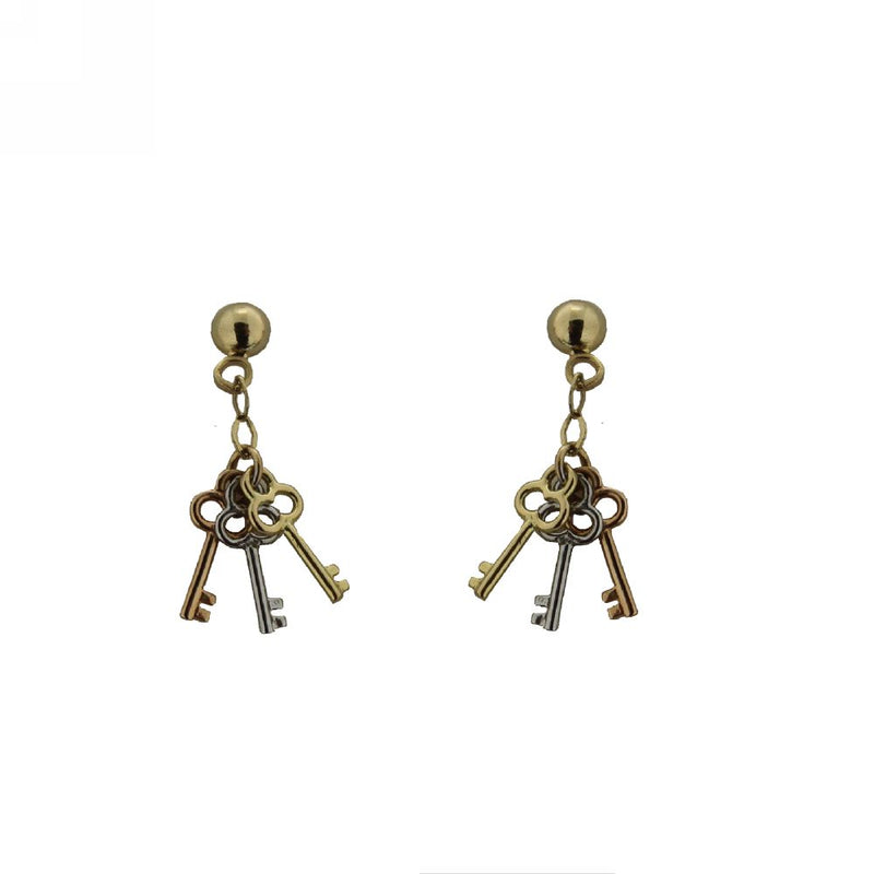 18KT TriColor Keys Dangle Earrings (23mm X 5mm)Amalia J. & Boutique Earrings
