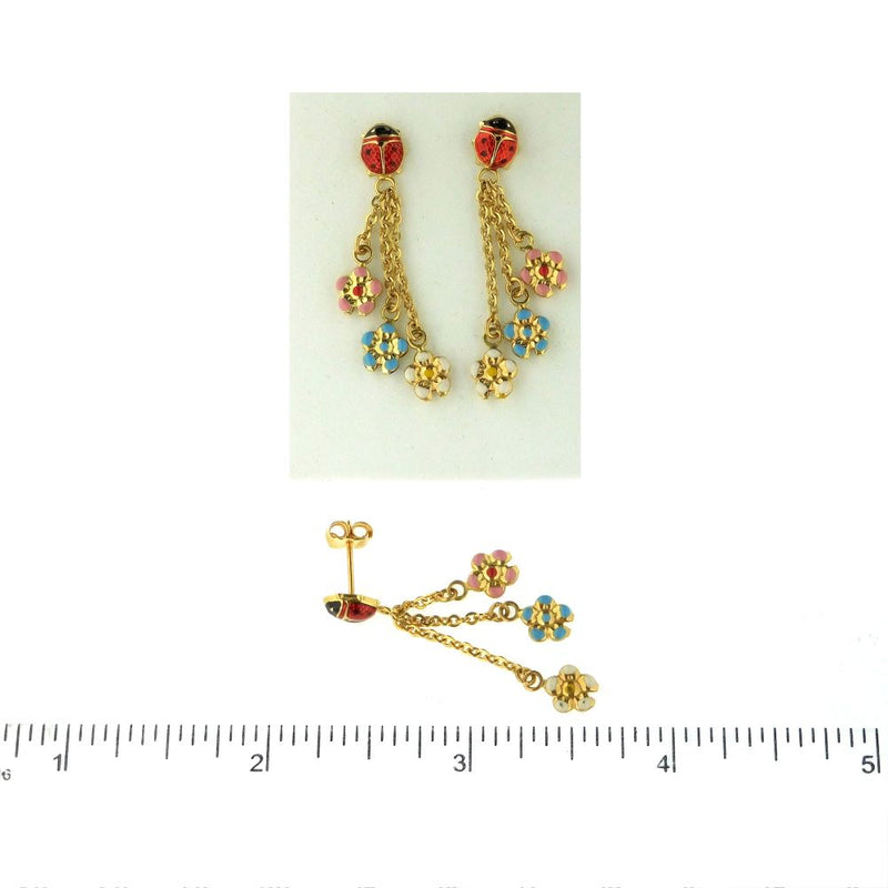 18Kt  Yellow Gold Earrings with Lady Bug & 3 Hanging Flowers (38mm X 6mm)Amalia J. & Boutique Earrings