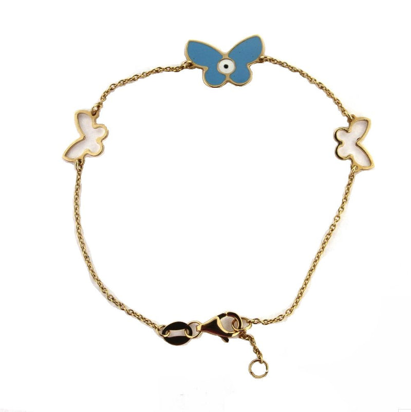 18KT YG Blue Butterfly with Eye and 2 Open butterflies Bracelet 7 inchAmalia J. & Boutique Bracelets