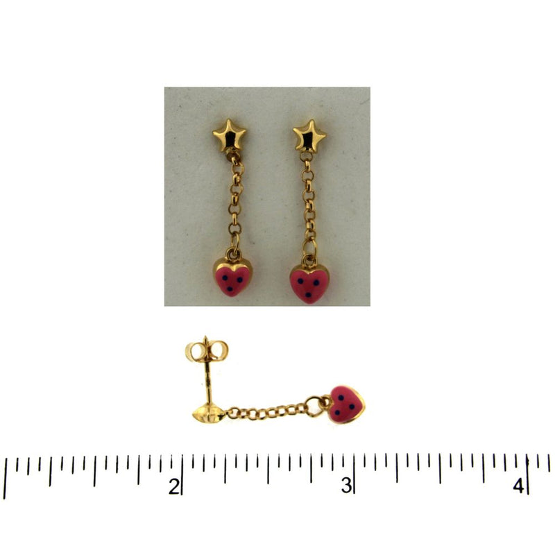 18K Yellow Gold Pink Enamel Polka Dot Heart Dangle EarringAmalia J. & Boutique Earrings