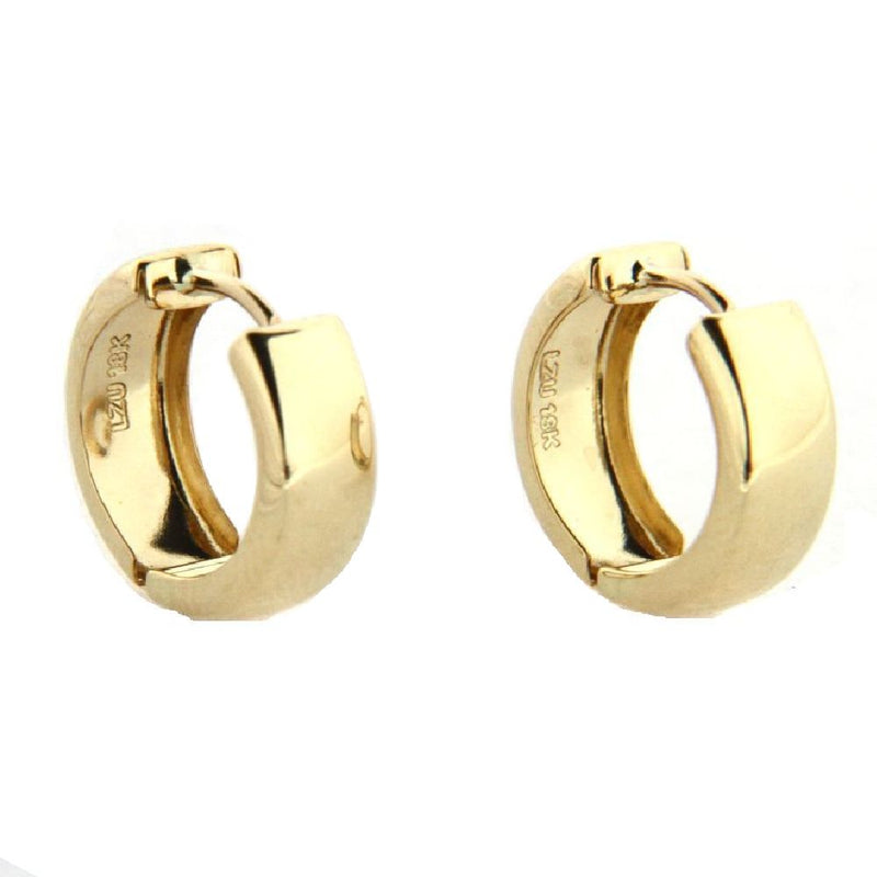 18K  Solid Yellow Gold Polished Hinge Huggie  Earrings 0.57 inch diameter x 0.20 inchAmalia J. & Boutique Earrings