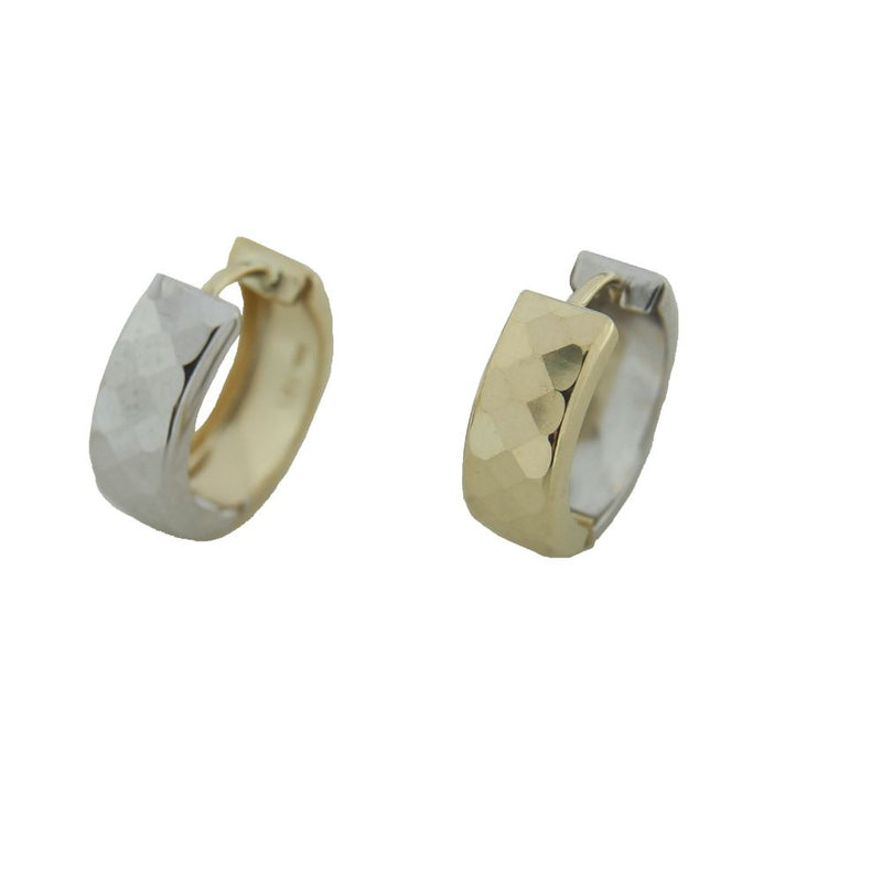 18K Two Tone Gold Faceted  one side Yellow and back  White Huggie 0.42 inch diameter x 0.20 inchAmalia J. & Boutique Earrings