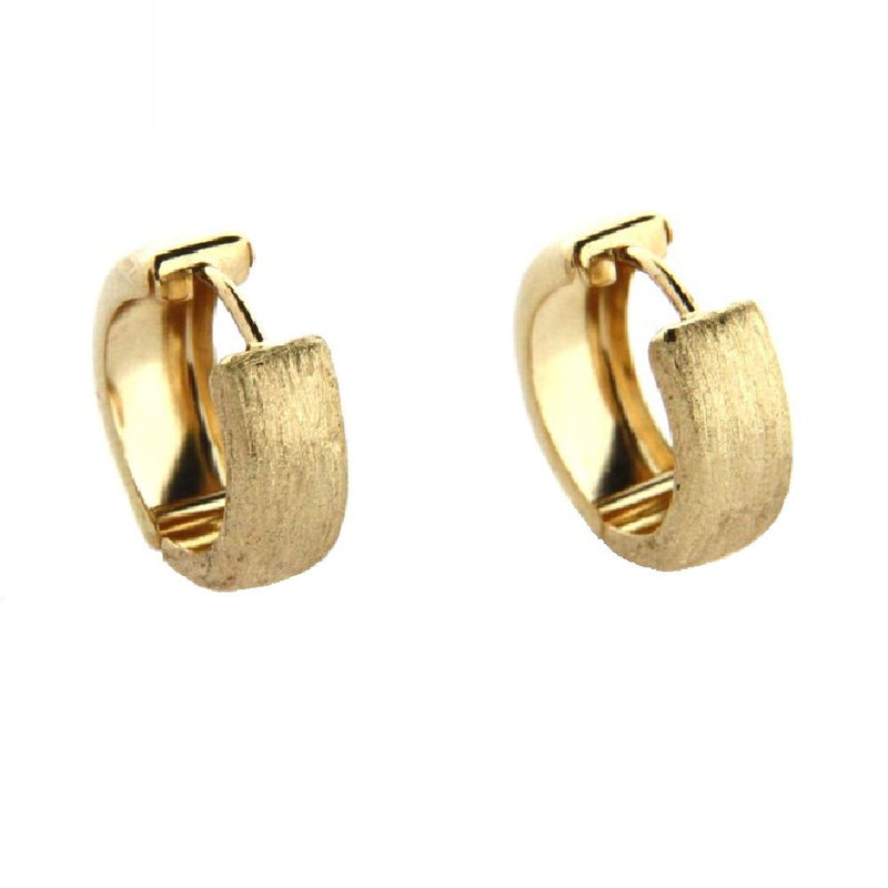 18K Solid Yellow Gold Front Satin & Back Polished  Huggie Hinged Hoop Reversible Earrings  0.57  inch Diameter x 0.20 inchAmalia J. & Boutique Earrings
