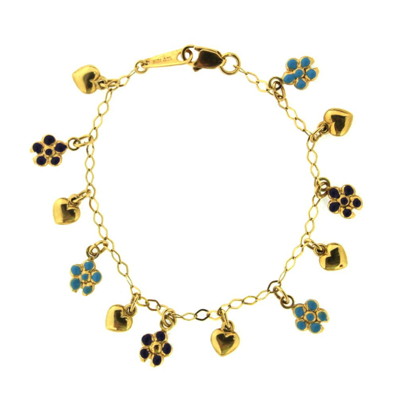 18K Yellow Gold Multi Color Enamel Teal and Purple Heart and Flower BraceletAmalia J. & Boutique Bracelets