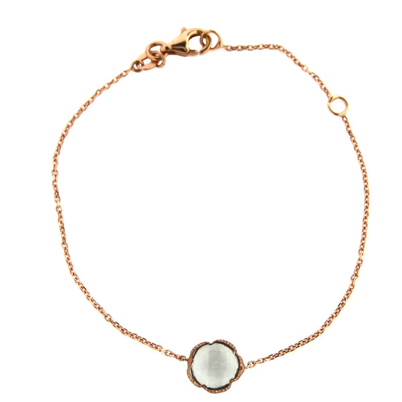 18Kt  Pink Gold Cabochon Green Amethyst Flower Bracelet 7 inches with extra ring at 6 inchesAmalia J. & Boutique Bracelets