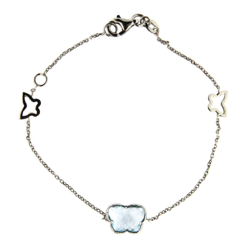 18KT White Gold Faceted Blue Topaz Butterfly Bracelet with two small open butterflies  7 inches with extra ring at 6 inchesAmalia J. & Boutique Bracelets
