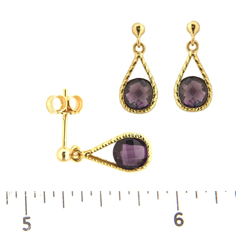18Kt Yellow Gold Round Faceted Amethyst Drop Dangle Post Earrings (16mm X 6mm) 0.60 inchAmalia J. & Boutique Earrings