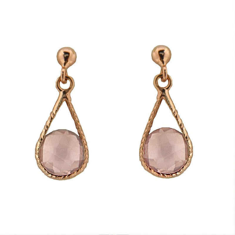 18Kt  Solid Pink Gold Round Faceted Pink Quartz Drop Dangle Post Earrings L 0.60 inchAmalia J. & Boutique Earrings