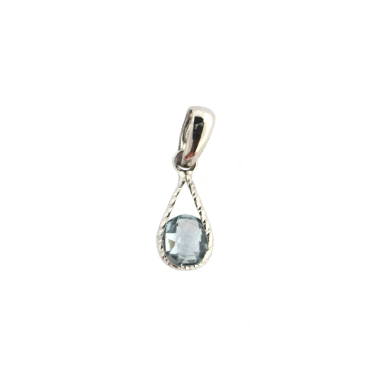 18Kt  White Gold Blue Topaz Drop Charm L 0.75  with BailAmalia J. & Boutique Charms
