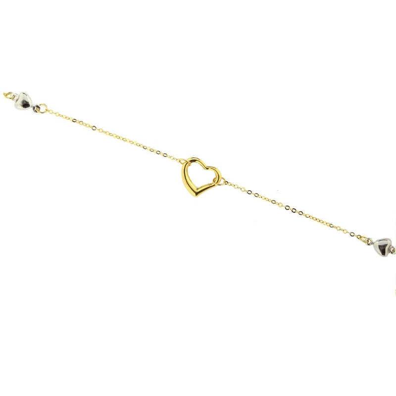 18kt Yellow Gold Pink Open Heart and Circle Bracelet 6.5 inchesAmalia J. & Boutique Bracelets