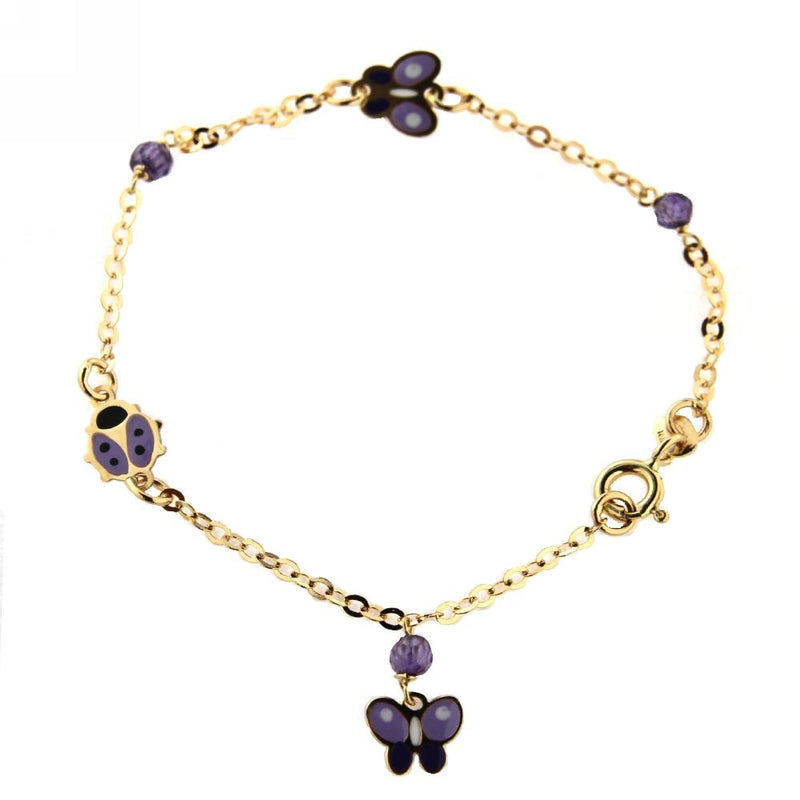18KT Yellow Gold Lilac Enamel Butterfly/Lady Bug with Purple Stones Bracelet 6 inches with extra ring at 5.25Amalia J. & Boutique Bracelets