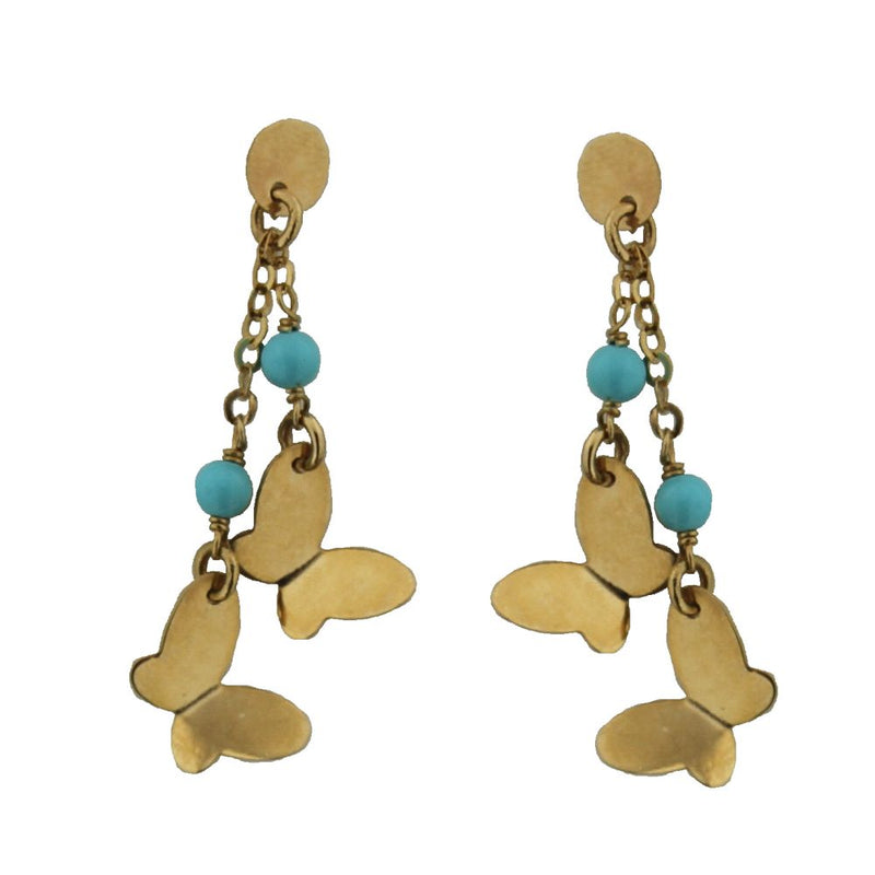 18KT Yellow Gold Two Butterfly with Turquoise Dangle Post Earrings. L-1 inchAmalia J. & Boutique Earrings