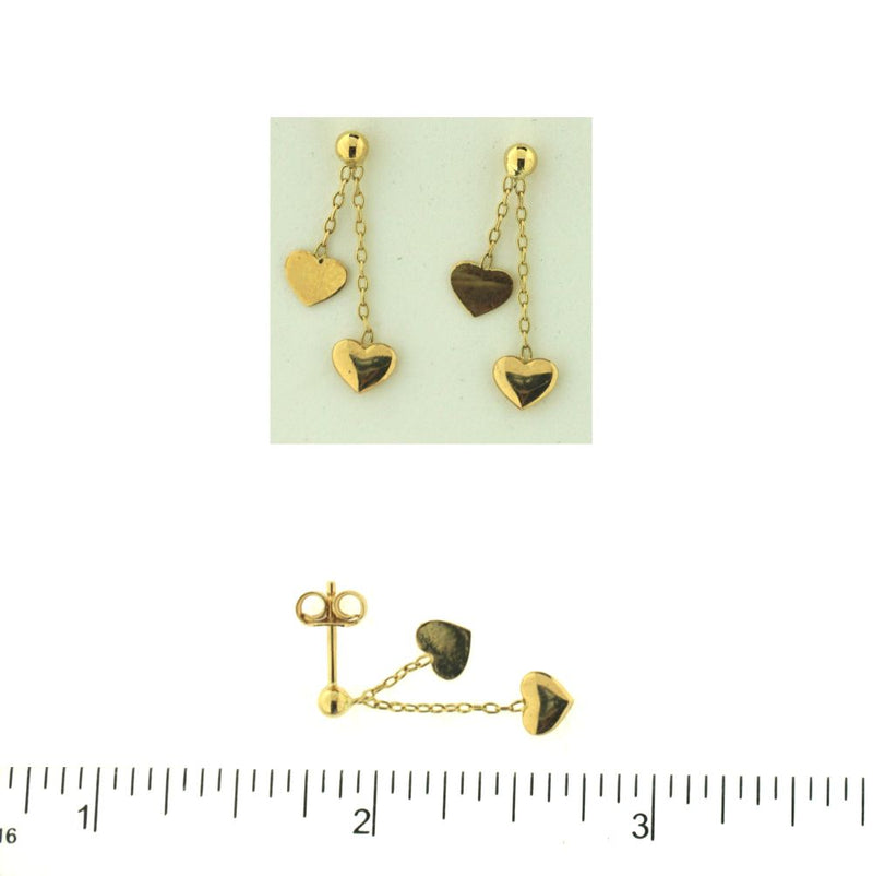 18KT Yellow Gold 2 Polished Hearts Dangle Post Earrings L- 1 inchAmalia J. & Boutique Earrings