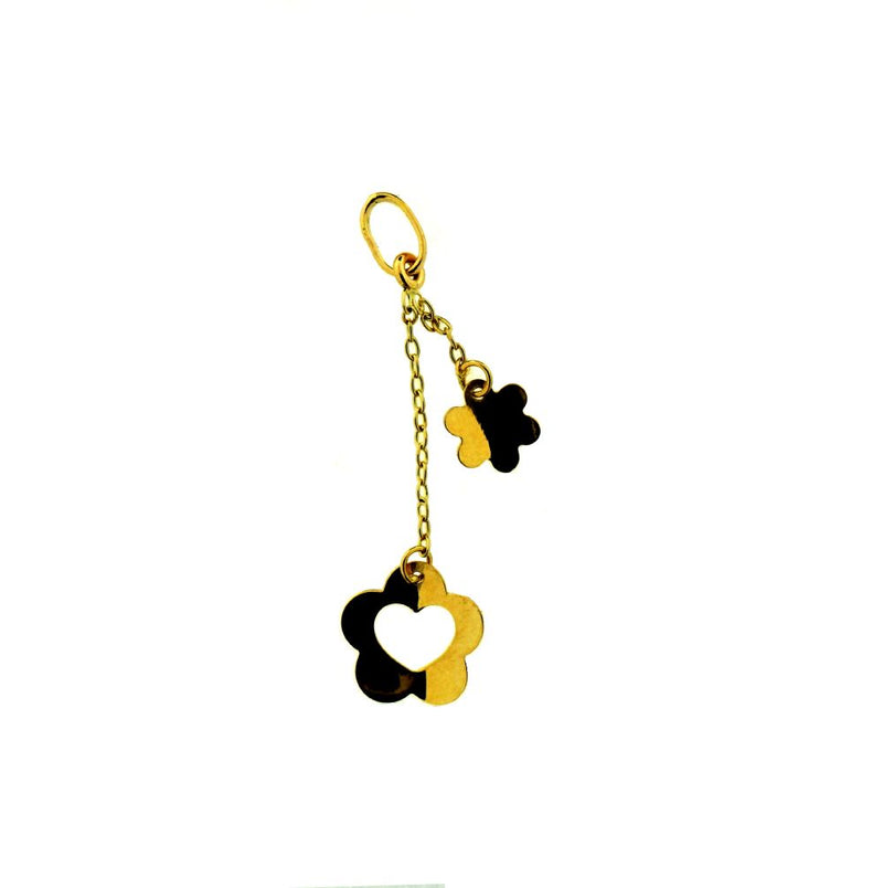 18KT Yellow Gold  Polished Flower and Open Flower/Heart Charm L- 1.5 inchAmalia J. & Boutique Charms