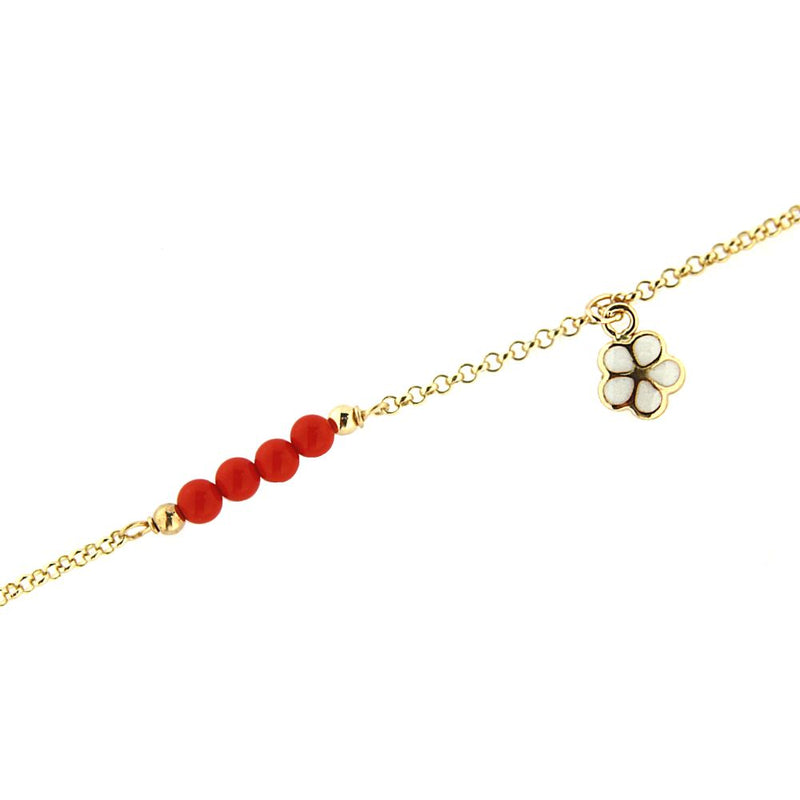 18KT Yellow Gold Dangling Enamel White Flower and 4 Coral Paste  Beads Bracelet 5.5 inch with extra ring at 4.75 inchAmalia J. & Boutique Bracelets