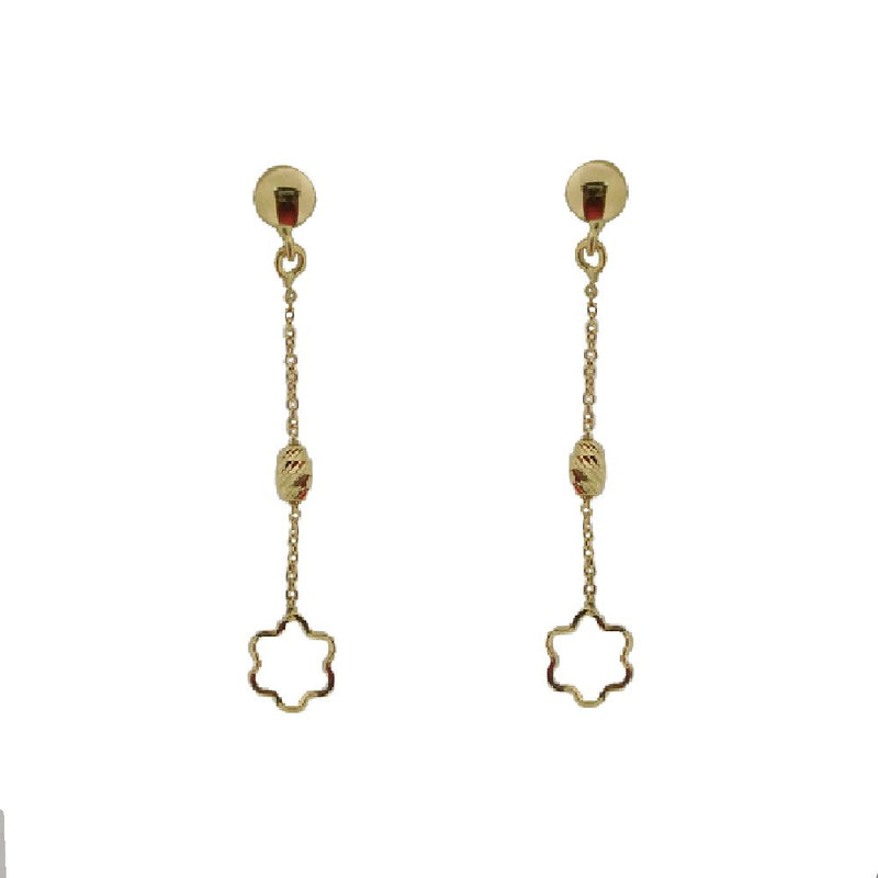 18KT Yellow Gold  Polished Open Flower with Bead Center Dangle Earrings  L- 1.5 inchAmalia J. & Boutique Earrings