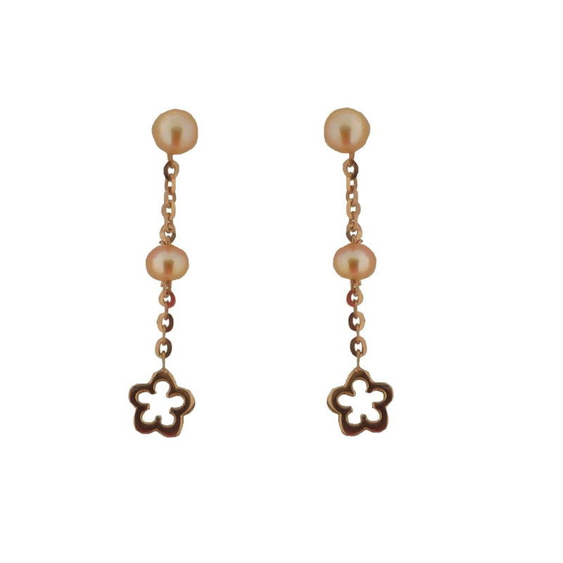 18KT Pink Gold Pearl Post with Dangle Flower Earring 1 inchAmalia J. & Boutique Earrings