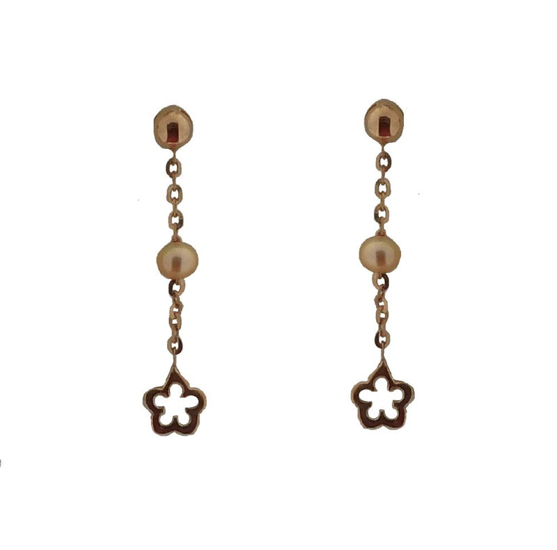 18KT Pink Gold Gold Post with Dangle Pearls and Flower Earring 1 inchAmalia J. & Boutique Earrings