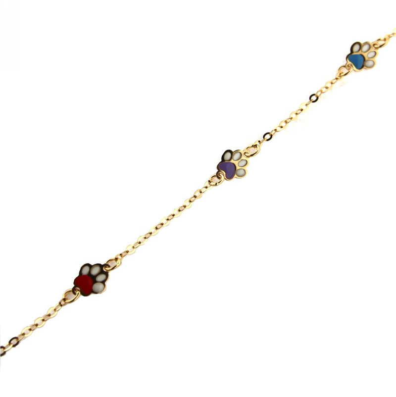 18KT Yellow Gold Pink Blue and  Lilac Enamel  Paw Bracelet 5 3/4 inchesAmalia J. & Boutique Bracelets