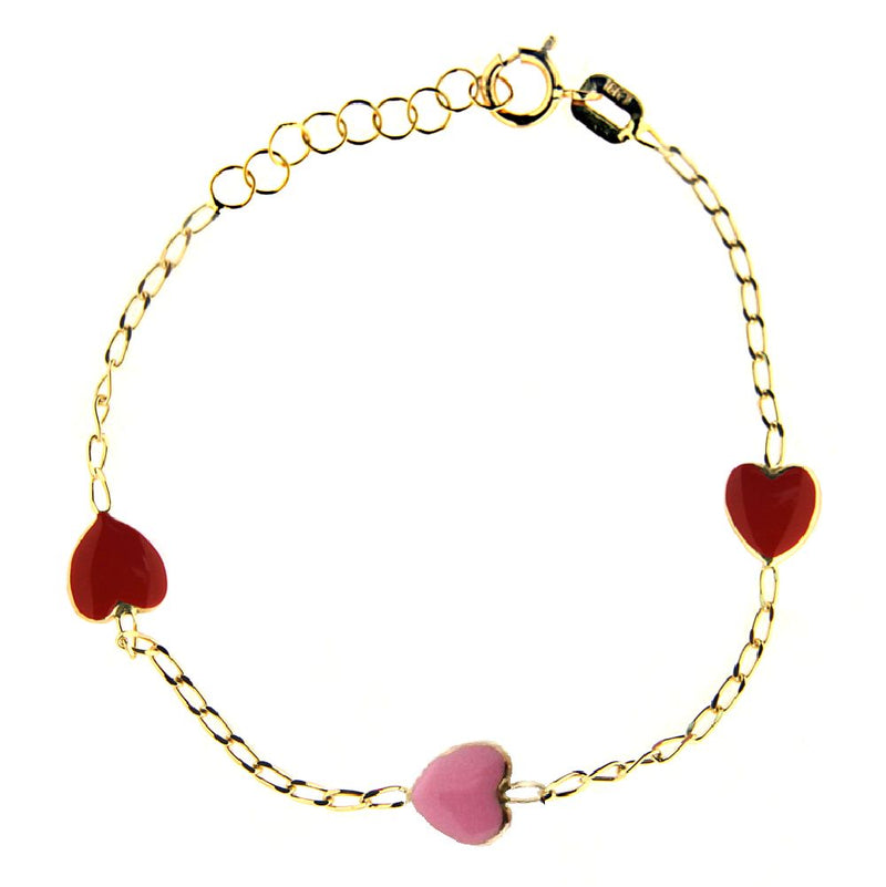 18 K Yellow Gold red and pink heart bracelet 5.6 inches with extra rings starting at 4.70 inchesAmalia J. & Boutique Bracelets