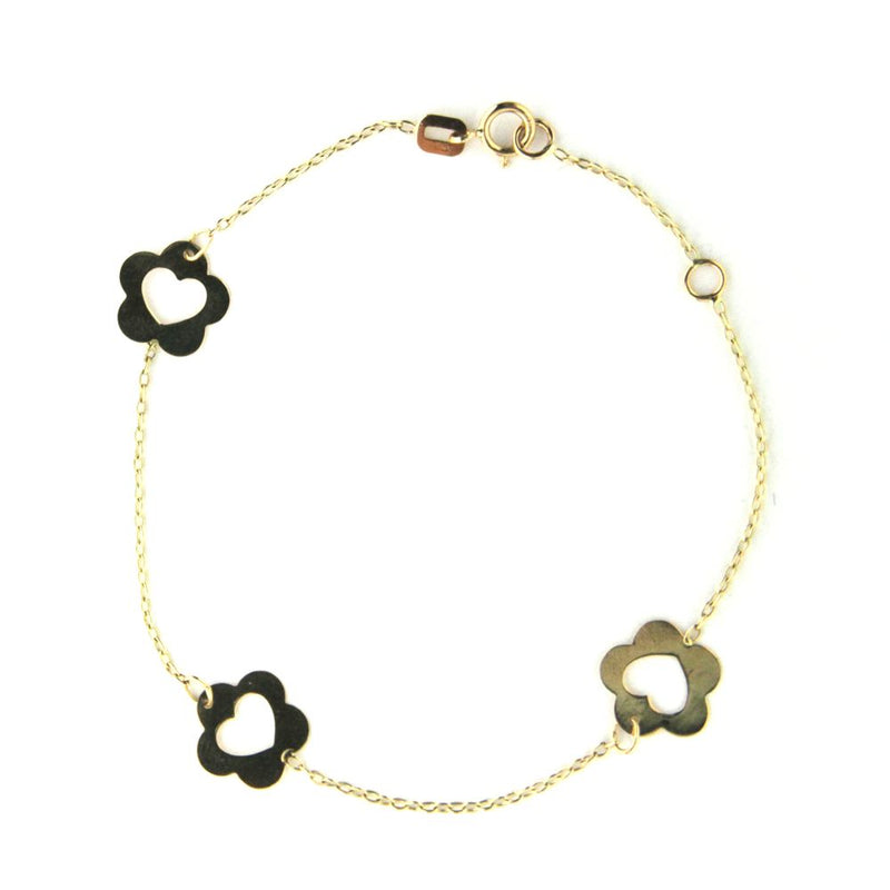 18KT Yellow Gold  Polished Flowers open Heart  bracelet with extra ring (7 inches)Amalia J. & Boutique Bracelets