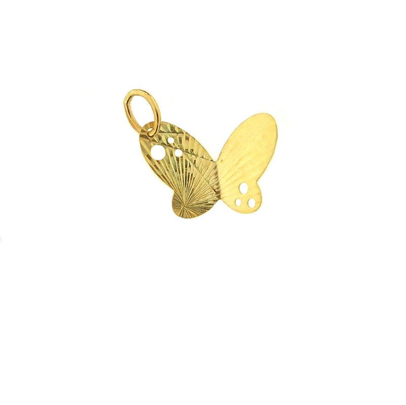 18 kt yellow gold diamond cut and cut out butterfly pendant( 0.65 x 0.40  inch)Amalia J. & Boutique Charms