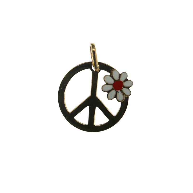 18 Kt yellow gold white and red enamel flower and peace sign pendant (15mm ,0.59 inch diameter)Amalia J. & Boutique Charms