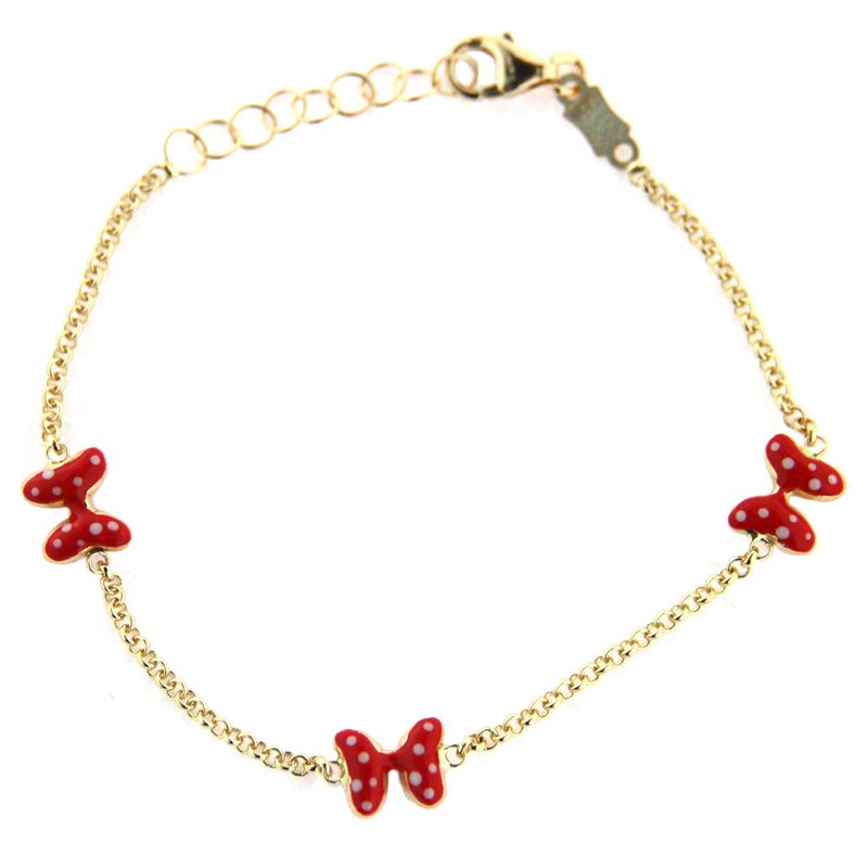 18K yellow gold red enamel bow with white dots bracelet 6 inches sizeable down to 5.5 inchesAmalia J. & Boutique Bracelets
