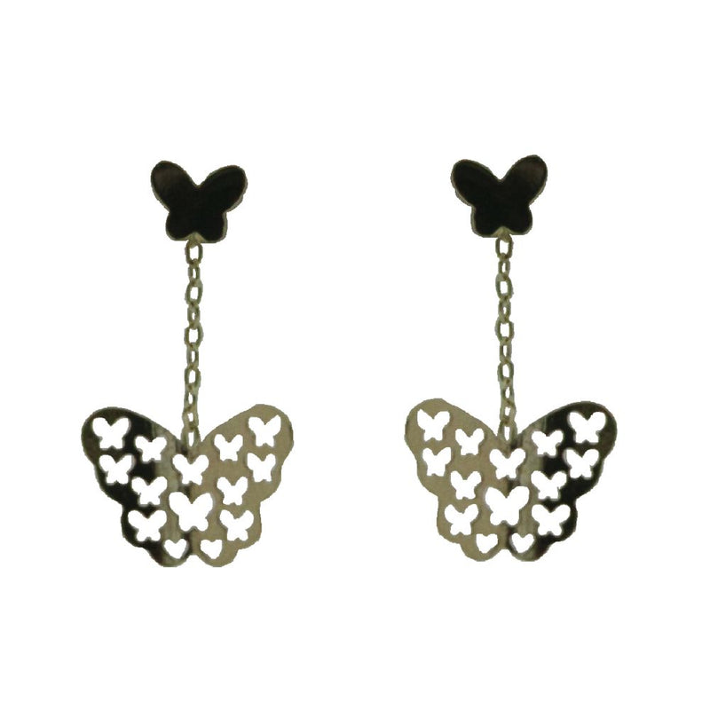 18 K yellow gold cut out butterfly dangle earrings 0.98 inchAmalia J. & Boutique Earrings