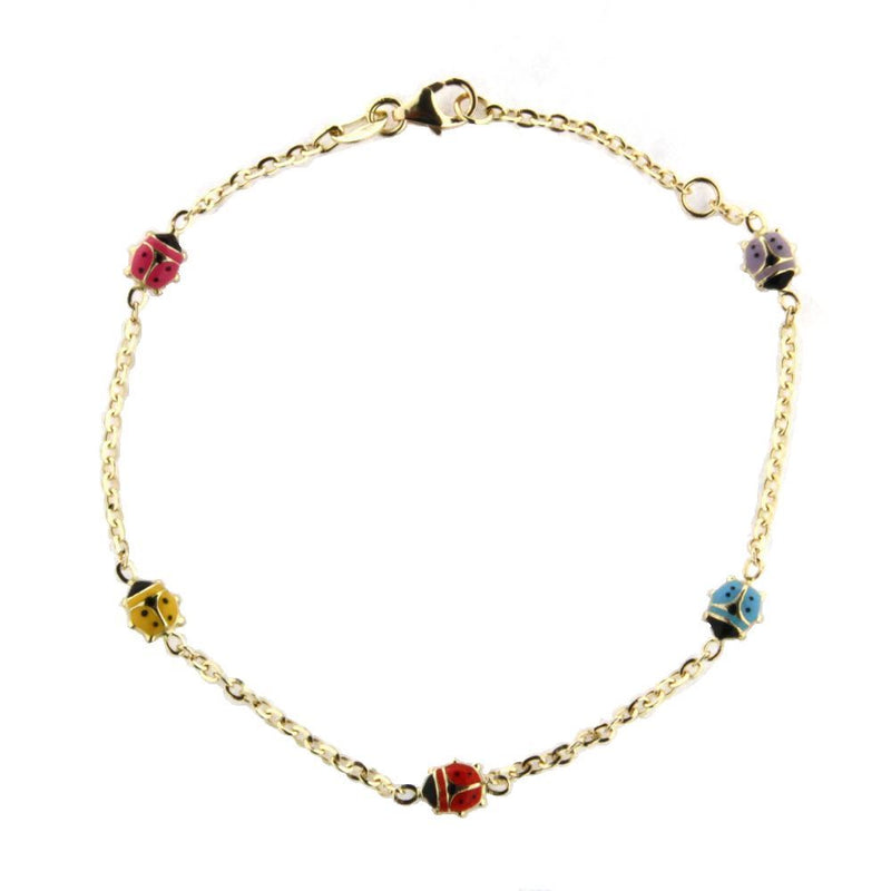 18K yellow gold  multi color enamel  lady bug bracelet 7 inches in line with extra ring in 6 inchesAmalia J. & Boutique Bracelets