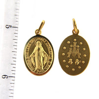 18K Solid Yellow Gold Miraculous Medal 0.6 x 1.10 Inch with BailAmalia J. & Boutique Charms