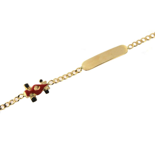 18K Yellow Gold red enamel racing car id bracelet 5.6 inches with extra ring 4.75 inchesAmalia J. & Boutique Bracelets