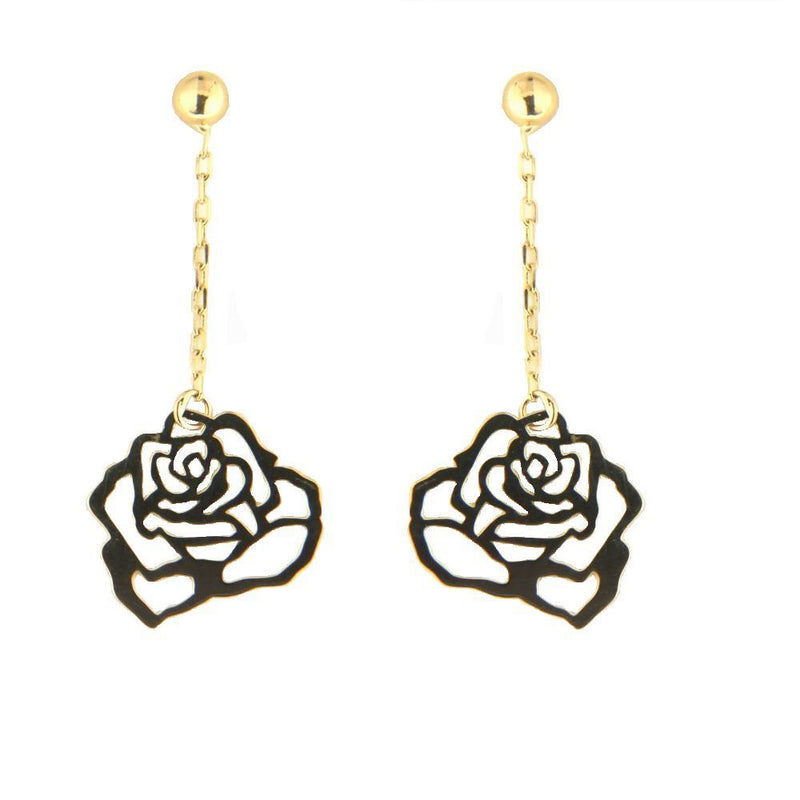 18K Yellow Gold Rose Dangle Post earrings  1.20 x 0.50 inchAmalia J. & Boutique Earrings