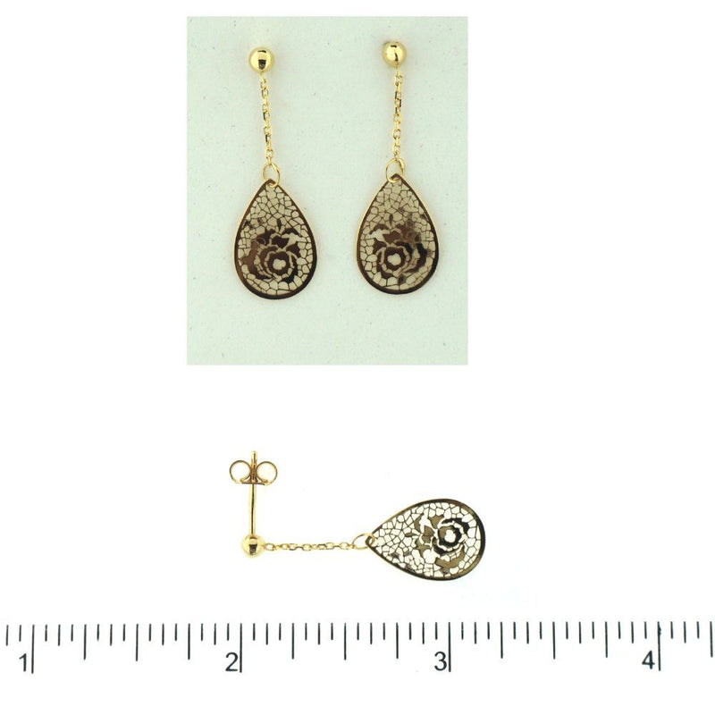 18K Yellow Gold tear shape dangle open cut rose earrings L 1.12 inchAmalia J. & Boutique Earrings