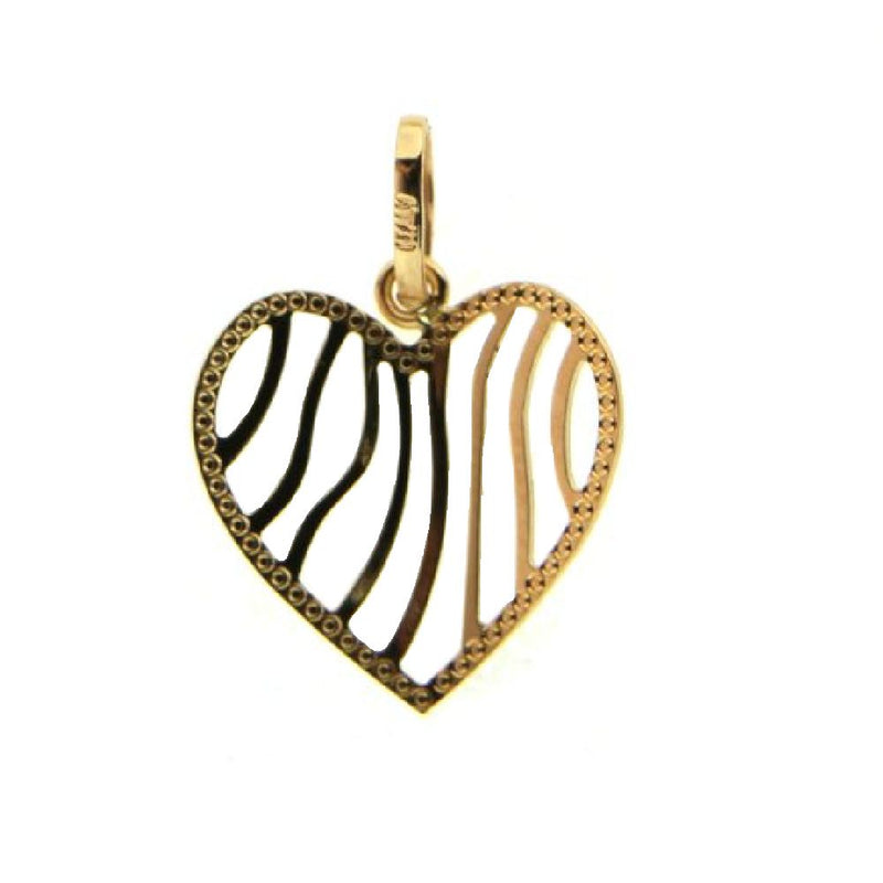 18K Yellow Gold open strips design bend heart pendant 0.60 inchAmalia J. & Boutique Charms
