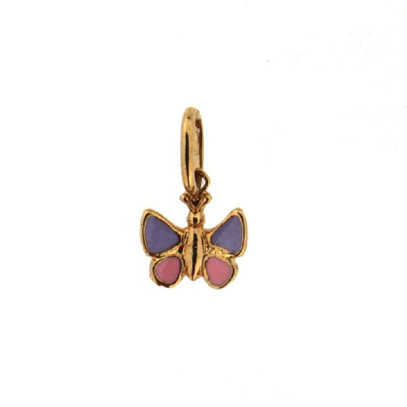 18K Yellow Gold Lilac and Pink enamel Butterfly pendant H 0.35 InchAmalia J. & Boutique Charms