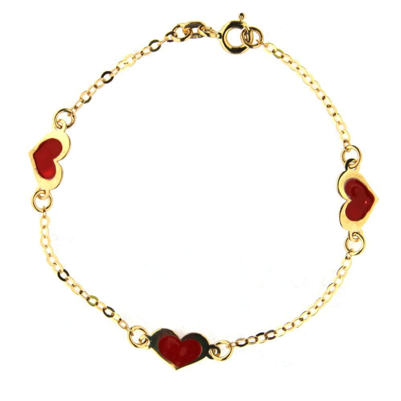 18K Yellow Gold Red enamel bracelet 6 inches with extra ring in 5 inchesAmalia J. & Boutique Bracelets