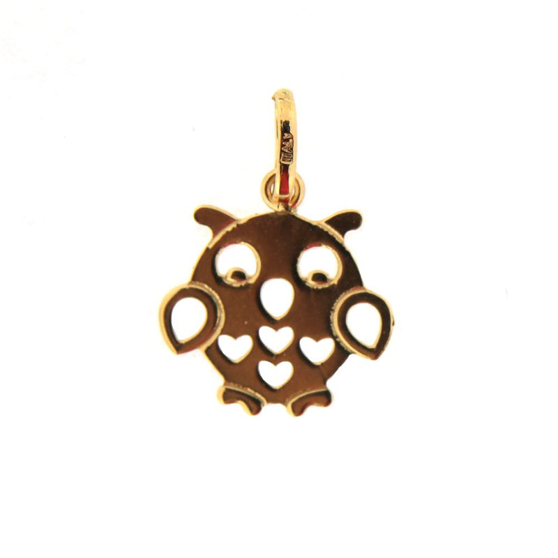18K Yellow Gold flat owl with open hearts pendant. Aprox 0.5 x 0.75 inches with bail.Amalia J. & Boutique Charms