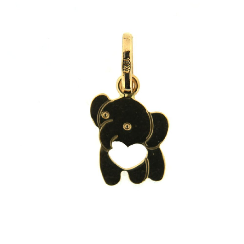 18K Yellow Gold flat elephant  with open heart pendant. Aprox. 0.5 x 0.6 inches with bail.Amalia J. & Boutique Charms