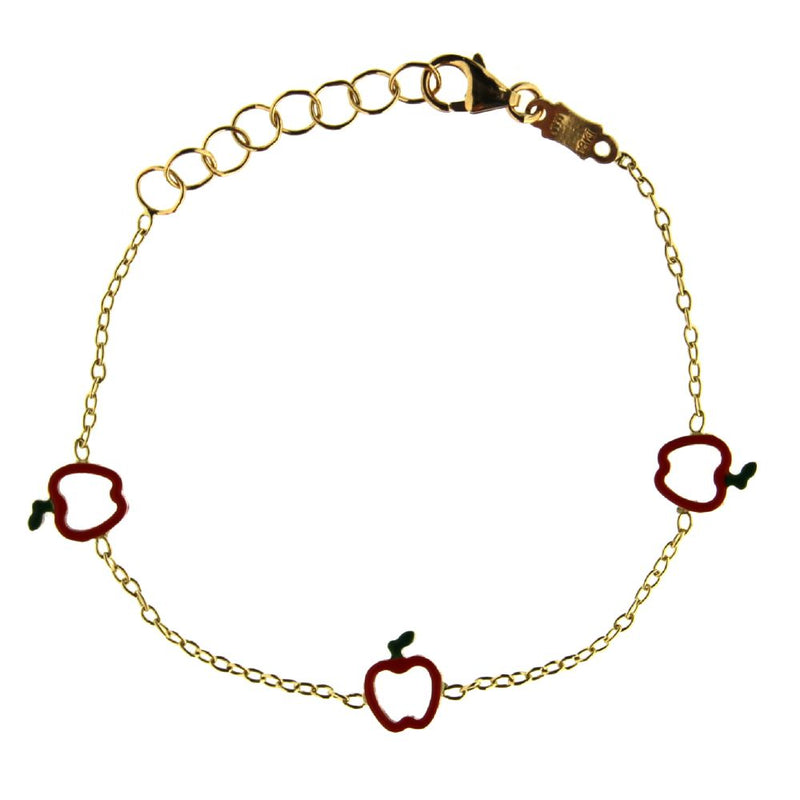 18K Yellow Gold Apple bracelet 5.6 inch with extra rings starting at 4.8 inchAmalia J. & Boutique Bracelets
