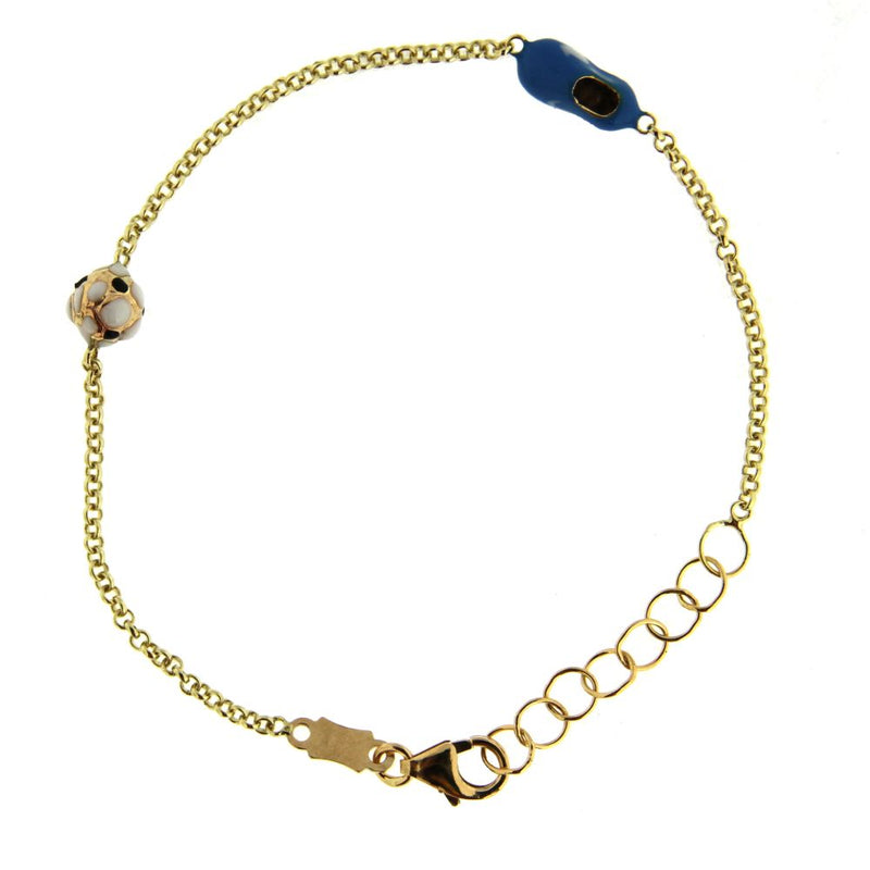 18K Yellow Gold enamel blue soccer shoe and enamel white and black soccer ball Bracelet 5.6 inch with extra rings starting at 4.8 inchesAmalia J. & Boutique Bracelets