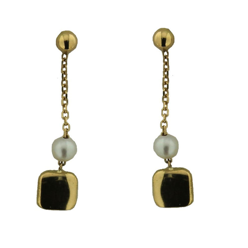18K Yellow Gold Cultivated Pearl and Polished  rounded Square Dangle Post Earrings L. 1.0 inchAmalia J. & Boutique Earrings